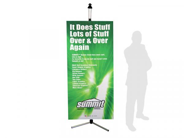 "Summit Telescopic Banner Stand - 32""w x 78""h - Silver - Shown with Optional Light - Black"